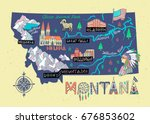 montana state illustrated map....   Shutterstock .eps vector #676853602