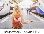 travel by train  woman... | Shutterstock . vector #676854412