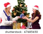 Christmas santa girl with gift give a present isolated on white - stock photo