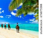 Horse Riding On Tropical Beach...