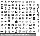 100 business community icons... | Shutterstock .eps vector #676876402