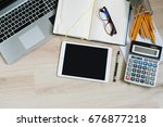 work office desk table with... | Shutterstock . vector #676877218