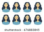 set of girl's emotions. facial... | Shutterstock .eps vector #676883845
