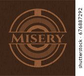 misery wooden emblem | Shutterstock .eps vector #676887292