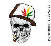 skull smoking weed wearing weed ... | Shutterstock .eps vector #676891486