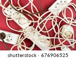 cable chaos clutter from... | Shutterstock . vector #676906525