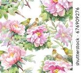 watercolor hand drawn seamless...   Shutterstock . vector #676909276