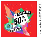 summer sale geometric style web ... | Shutterstock .eps vector #676915912
