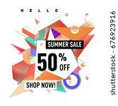 summer sale geometric style web ... | Shutterstock .eps vector #676923916