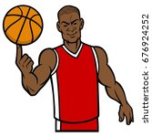 basketball player spinning ball ... | Shutterstock .eps vector #676924252