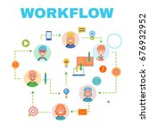 flat design banner for workflow ... | Shutterstock . vector #676932952