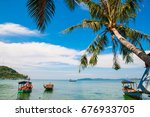 with the blue water   white... | Shutterstock . vector #676933705