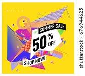 summer sale geometric style web ...   Shutterstock .eps vector #676944625