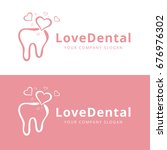love dental logo vector and... | Shutterstock .eps vector #676976302