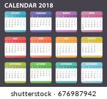 2018 year calendar starts monday   Shutterstock .eps vector #676987942