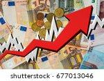 growing arrow with euro money... | Shutterstock . vector #677013046