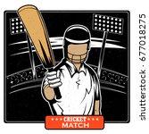 batsman sports player playing...   Shutterstock .eps vector #677018275