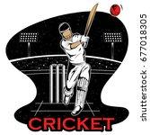 batsman sports player playing...   Shutterstock .eps vector #677018305