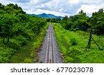 beautiful railway track go to... | Shutterstock . vector #677023078