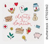 charity and donation. hand... | Shutterstock .eps vector #677023462