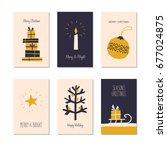 set of decorative christmas... | Shutterstock .eps vector #677024875