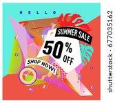 summer sale geometric style web ... | Shutterstock .eps vector #677035162