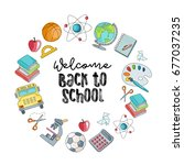 welcome back to school vector... | Shutterstock .eps vector #677037235