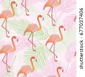 flamingo pattern  vector ... | Shutterstock .eps vector #677037406