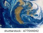 marbled blue and golden... | Shutterstock . vector #677044042