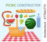 picnic constructor. basket for...   Shutterstock .eps vector #677061772