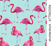 background of pink flamingos.... | Shutterstock . vector #677062336
