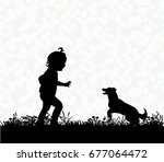 vector  silhouette of a child... | Shutterstock .eps vector #677064472