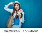 travel concept portrait of... | Shutterstock . vector #677068702