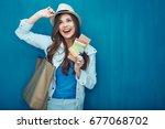 travel concept portrait of... | Shutterstock . vector #677068702