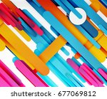cut 3d paper color straight... | Shutterstock .eps vector #677069812
