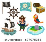 pirate's adventure set on white ... | Shutterstock .eps vector #677075356