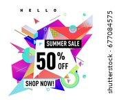 summer sale geometric style web ...   Shutterstock .eps vector #677084575