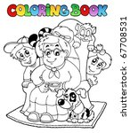 coloring book with grandma and... | Shutterstock .eps vector #67708531