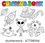 coloring book with aliens  ... | Shutterstock .eps vector #67708546
