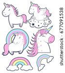 unicorn set. illustration... | Shutterstock .eps vector #677091538