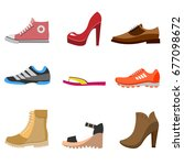 different fashion shoe boots... | Shutterstock .eps vector #677098672
