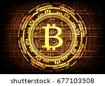 abstract technology bitcoins... | Shutterstock .eps vector #677103508