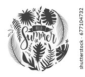 hello summer lettering with... | Shutterstock .eps vector #677104732