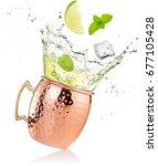 Splashing moscow mule cocktail...