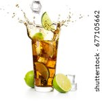 lime slice and ice cube falling ... | Shutterstock . vector #677105662