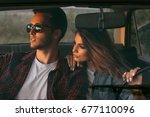 attractive portrait of romantic ... | Shutterstock . vector #677110096
