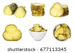 Collage of pickled cucumbers on white background
