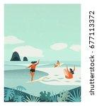 summer surfing retro poster.... | Shutterstock . vector #677113372