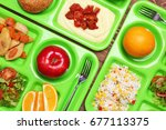 serving trays with delicious... | Shutterstock . vector #677113375