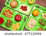 serving trays with delicious... | Shutterstock . vector #677113456